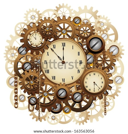 Steampunk Clock Vector Steampunk Style Clocks And