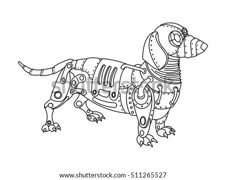 steampunk style dachshund dog