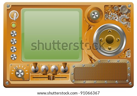 Steampunk style grunge media player control panel - stock vector