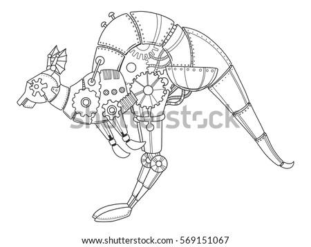 steampunk style kangaroo