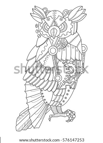 steampunk style owl mechanical