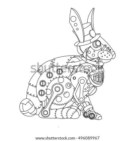 Download minimalistic steampunk wallpaper 1920x1200 Steampunk animals coloring book