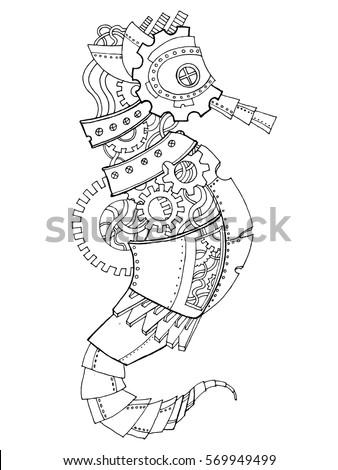 steampunk style sea horse
