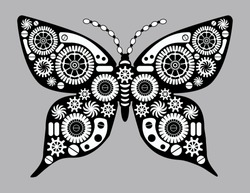 Steampunk vector butterfly. Fantastic insect in vintage style for tattoo, sticker, print and decorations. Retro collage.