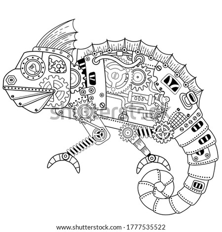 steampunk vector coloring page