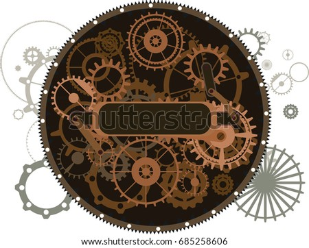Steampunk vintage isolated frame sign, rusty grunge collage, cogs, dark elements, wheels and gears
