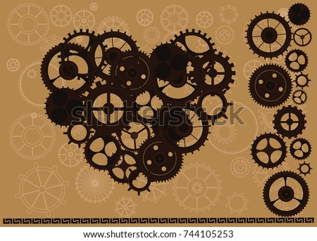 Steampunk vintage isolated heart with cogs and gears on steam punk canvas paper background