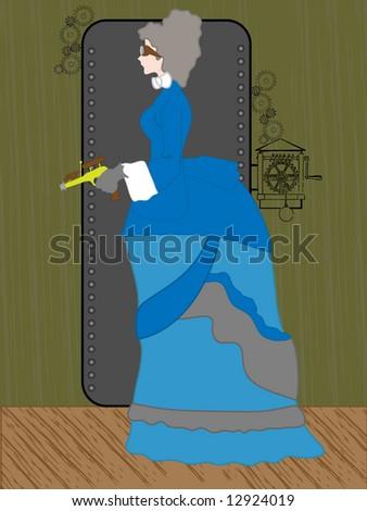 steampunk woman holding raygun