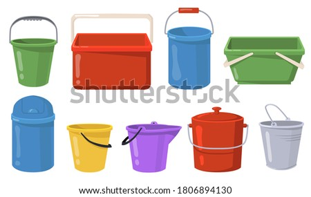 Steel and plastic buckets flat illustration set. Cartoon metal containers and pails for water or trash isolated vector illustration collection. Vessels and stuff concept