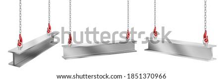 Steel beams hanging on chains with hooks, straight metal industrial girder pieces for construction and building works crane lifting iron balks isolated on white background, realistic 3d vector set Stockfoto ©
