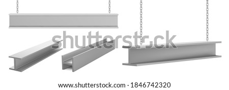 Steel beams, straight metal industrial girder pieces hanging on chains for construction and building works crane lifting iron balks isolated on white background, realistic 3d vector illustration, set Foto stock ©