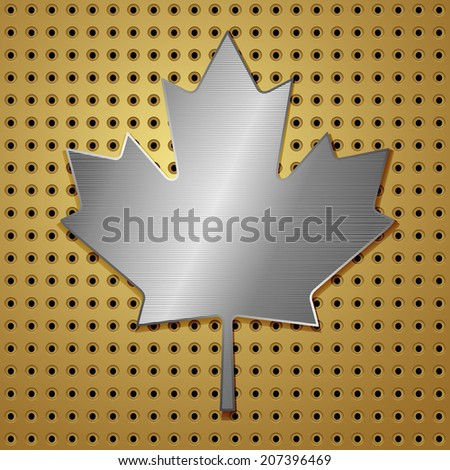 steel canadian leaf of maple on