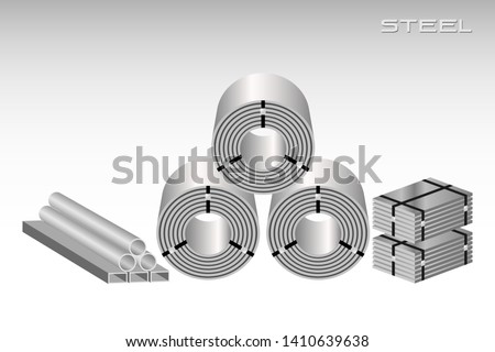 Steel coil, sheets, pipe for industries, construction, isolated vector