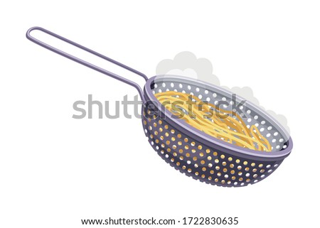 Steel Colander with Pasta as Draining Step for Cooking Carbonara Vector Illustration Stock photo ©