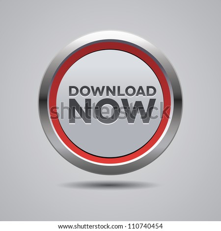 Steel download now button red - stock vector
