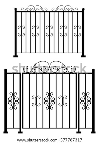 steel gate and fence silhouette