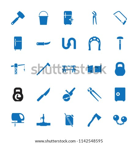 Steel icon. collection of 25 steel filled icons such as pipe, clean fridge, construction crane, hacksaw, pliers, electric saw. editable steel icons for web and mobile.