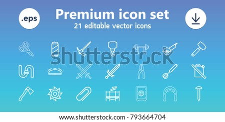 Steel icons. set of 21 editable outline steel icons includes pipe, nail, hook, electric saw, axe, no oil, clip, trampoline, bell, corolla, knife, hammer, beer can, sword, saw