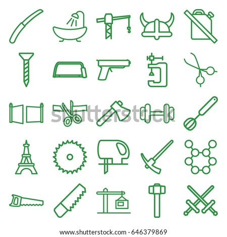 Steel icons set. set of 25 steel outline icons such as eiffel tower, shower, saw, blade saw, screw, construction crane, axe, hacksaw, vice clamp, electric saw, garden hammer