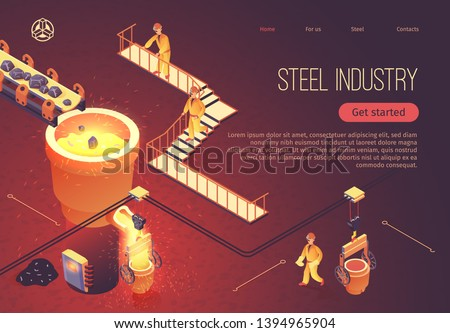 Steel Industry Banner for Factory Workshop. Vector Isometric Illustration Metallurgy Process. Stones Move along Conveyor into Tub with Molten Cast Iron. Smelting Metal at Foundry. Employees Work