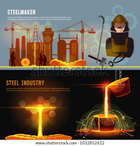 Steel industry banner. Smelting of metal in big foundry. Iron and factory workshop. Steel worker. Metallurgy process. Hot steel pouring in steel plant