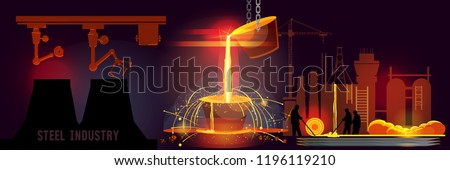 Steel industry banner. Smelting of metal in big foundry. Iron and factory workshop.  Worker. Metallurgy process. Hot steel pouring in plant