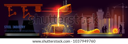 Steel industry banner. Steel worker. Metallurgy process. Hot steel pouring in steel plant. Smelting of metal in big foundry. Iron and factory workshop