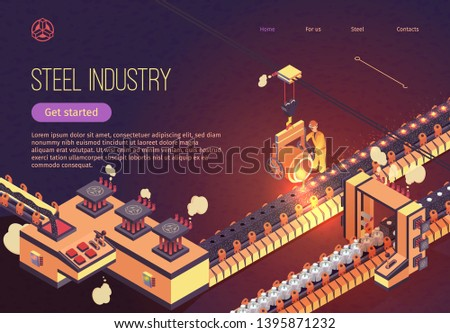 Steel Industry Banner with Iron Smelting Conveyor. Metallurgy process and Metal Parts Production. Vector Isometric Illustration for Plant with Man in Overalls Reladles Molten Cast Iron in Foundry.