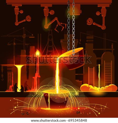 Steel industry, iron and steel factory workshop. Hot steel pouring in steel plant. Smelting of metal in big foundry. Metallurgy process