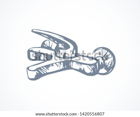 Steel jet douche spigot spray design on white washroom wall backdrop. Outline black ink hand drawn health wet object logo emblem insignia in art modern doodle cartoon style pen on paper space for text