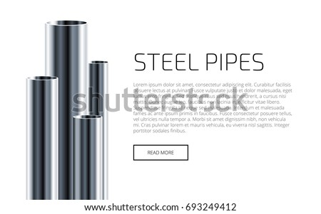Steel or Aluminum pipes of different diameters isolated on white background. Industrial web Presentation Template. Glossy 3d Steel Tubes design. Vector illustration.