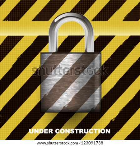 Steel padlock over under construction abstract background. vector design - stock vector