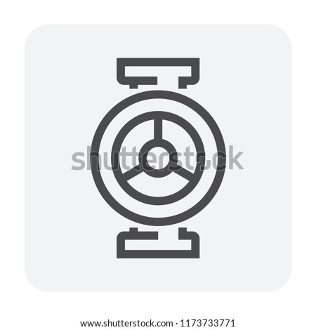 Steel pipe connector and valve icon set, 64x64 perfect pixel and editable stroke.