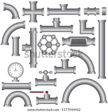Steel pipe fittings vector illustration isolated on white background