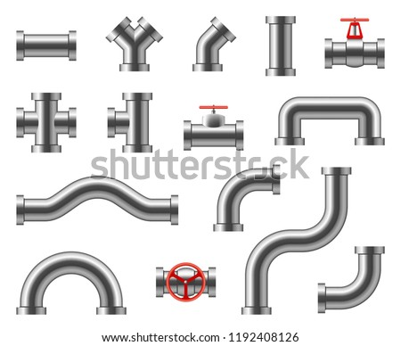 Steel pipes. Metal pipeline connectors, fittings, valves, industrial plumbing for water and gas vector set isolated. Illustration of pipeline and pipe part for water or oil