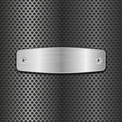 Steel plate with screws on metal perforated background. Vector 3d illustration