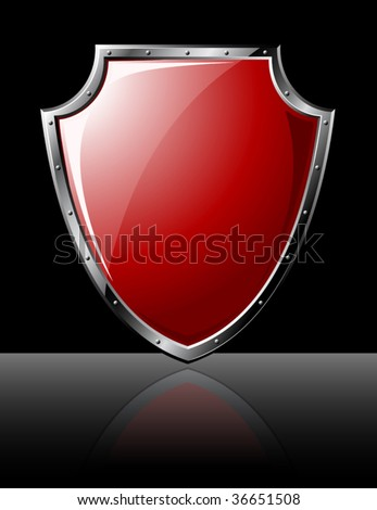 Steel red shiny shield isolated on black - vector