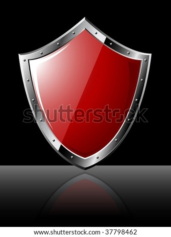 Steel red shiny shield - vector