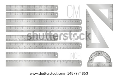 Steel ruler lines. Vector metal inches and millimeters rulers isolated on white, metric scale measure objects with numbers, office metalic measuring office supplies