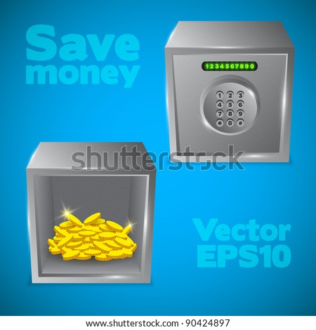 Steel safe with combination lock and gold coins Vector object