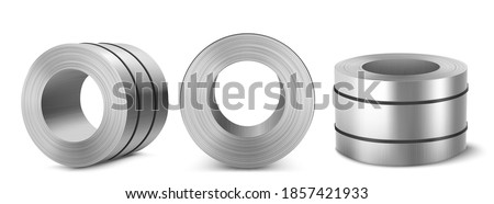 Steel sheet roll, stainless construction tape coil isolated on white background. Metallurgy industry production. Vector realistic set of metal, aluminium or tin sheet roll in front, top and angle view