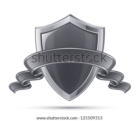 Steel shield. 100% Protection concept. Vector illustration of black glossy shield