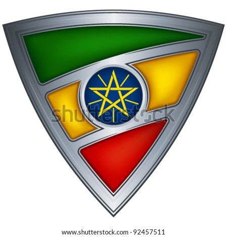 Steel shield with flag Ethiopia