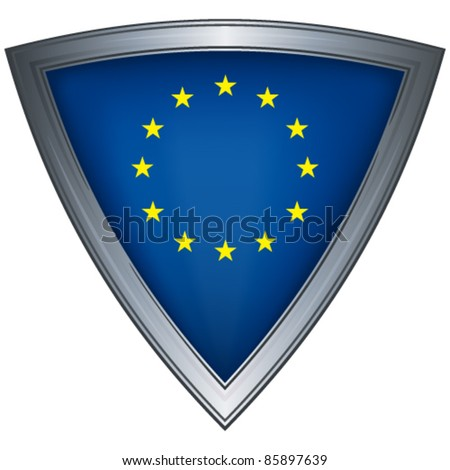 Steel shield with flag European Union
