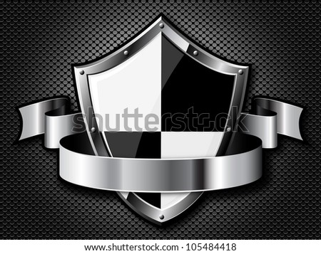 Steel shield with ribbon over steel dotted background. Vector EPS10. Transparency is used to create shadows.