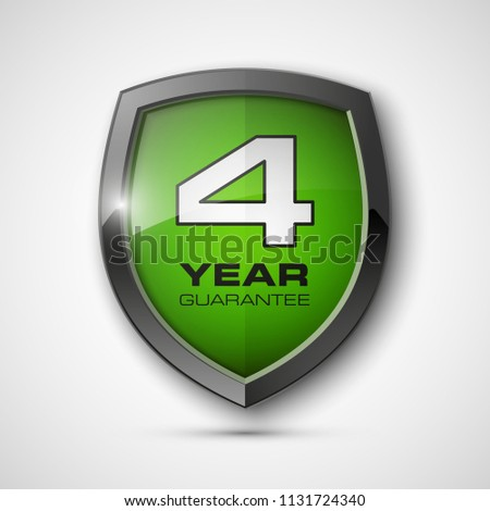Stock Photo Steel shield with text guarantee four year icon. Warranty 4 year Label obligations. Safeguard metal shield sign. Protect promise reliability badge. Security guaranteed four year shield illustration