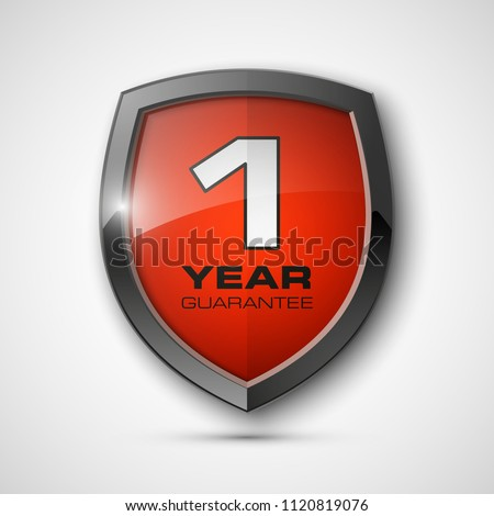 Steel shield with text guarantee one year icon. Warranty 1 year Label obligations. Safeguard metal shield sign. Protect promise reliability badge. Security guaranteed one year shield illustration