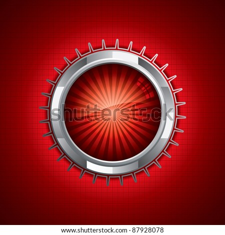 Steel style security button on red background