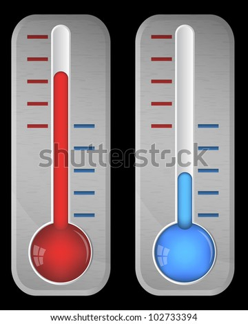 Steel thermometers on black, vector, 10eps.