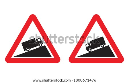 Steep Ascent and Steep Descent warning road sign set. Vector illustration of danger hill caution traffic sign. Attention red triangle boards isolated on white background. Information for truck driver. Stockfoto ©